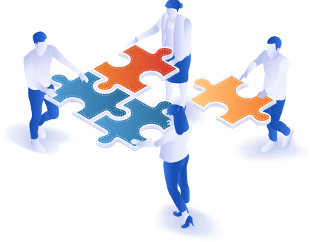Group of people with puzzle pieces