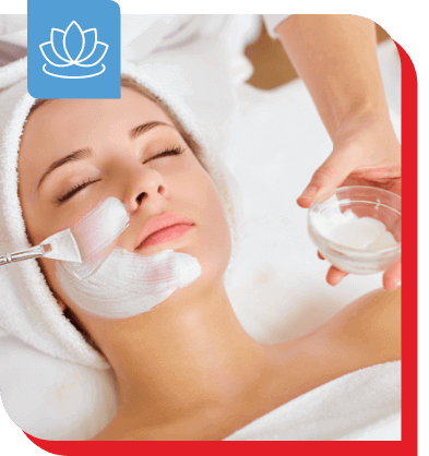 lady in a spa with a beauty facial mask